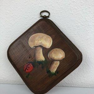 Vintage Wall Art - VINTAGE Mushroom Lady Bug Art Hand Painted Wood Sq
